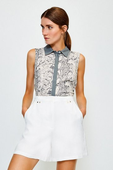 Natural Classic Sleeveless Print Shirt