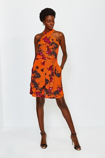 Orange Print Floral Twist Halter Playsuit