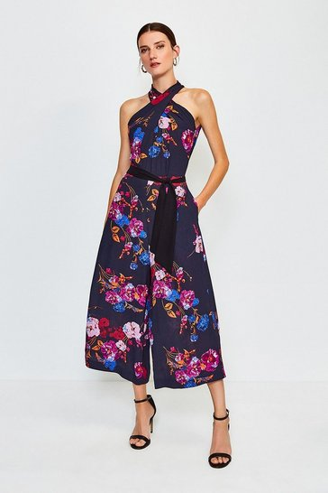 Black Print Floral Twist Halter Jumpsuit