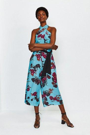 Blue Print Floral Twist Halter Jumpsuit