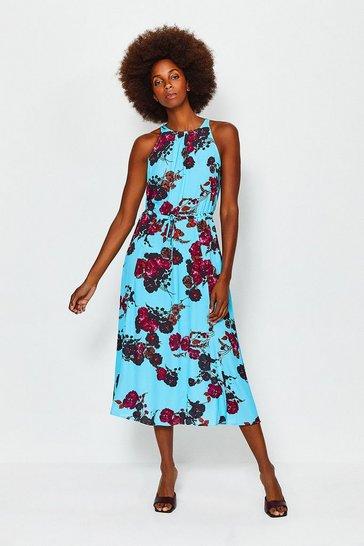 Blue Printed Floral Tie Waist Dress