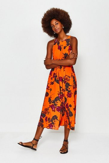 Orange Printed Floral Tie Waist Dress