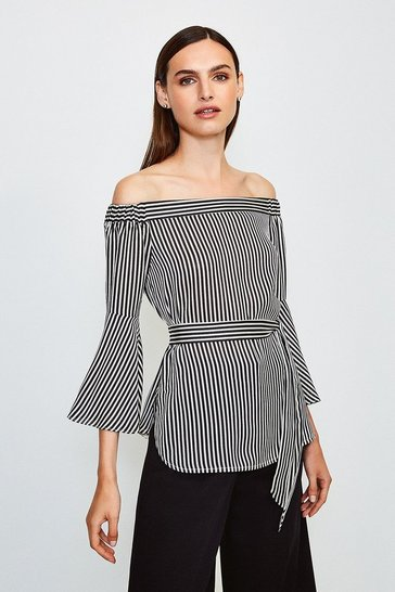 Stripe Striped Bardot Top
