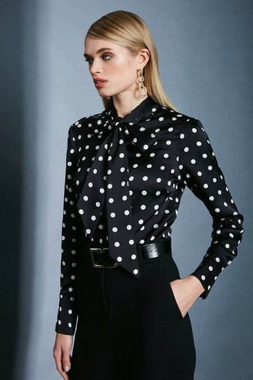 Black Spot Print Tie Neck Shirt