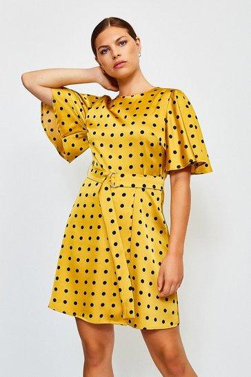 Mustard Spot Print Wrap
