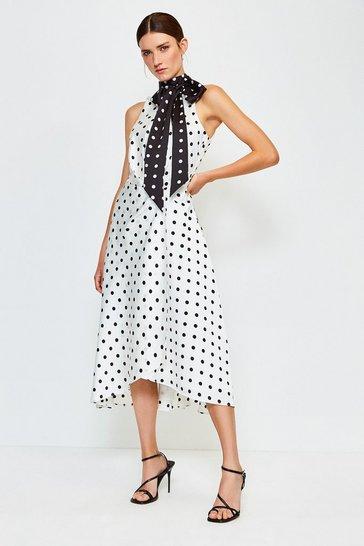 Ivory Spot Print Halterneck Tie Midi Dress