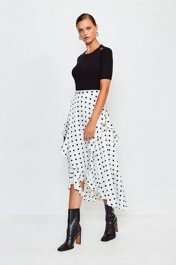 Ivory Spot Frill Midi Skirt