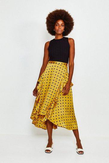 Mustard Spot Frill Midi Skirt