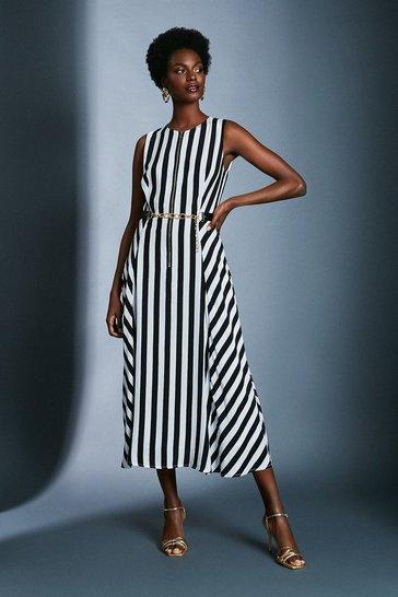 Stripe Printed Belted Maxi Dress