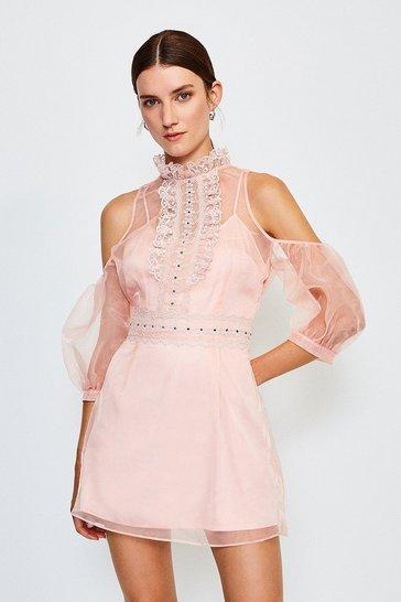Peach Organza Lace Trim Cold Shoulder Short Dress