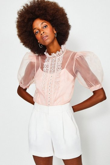 Peach Organza Lace Trim Short Sleeve Top