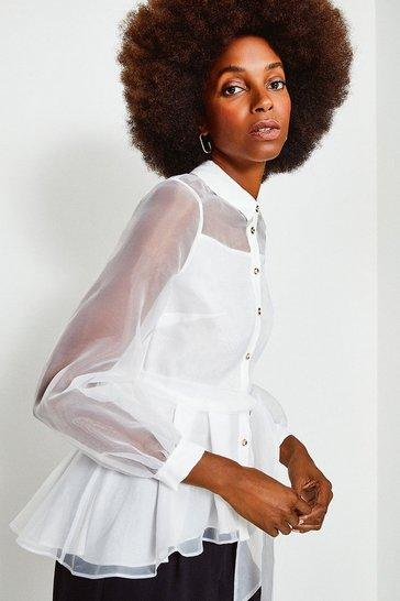 Ivory Organza Tie Waist Sleeved Blouse