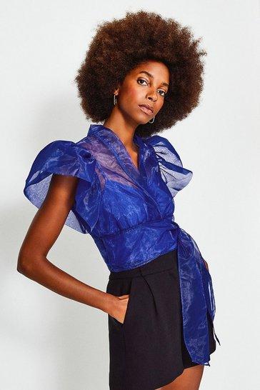 Cobalt Organza Puff Sleeve Blouse