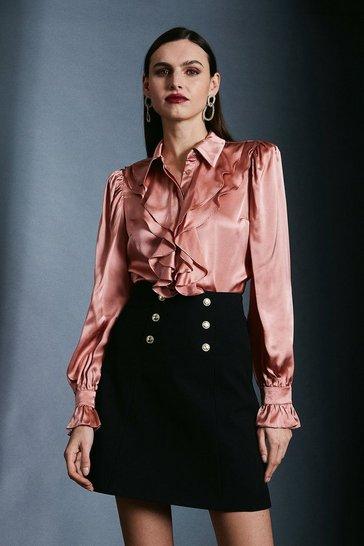 Blush Silk Ruffle Sleeved Shirt With Cuff Detail