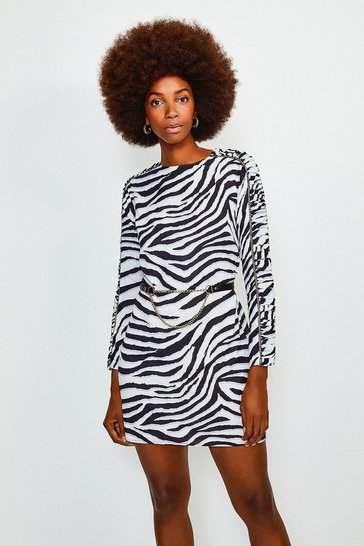 Zebra Printed Belted Short Dress