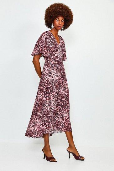 Pink Animal Print Angel Sleeve Dress