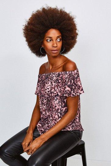 Pink Leopard Print Bardot Top