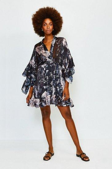 Black Print Flute Sleeve Wrap Short Dress
