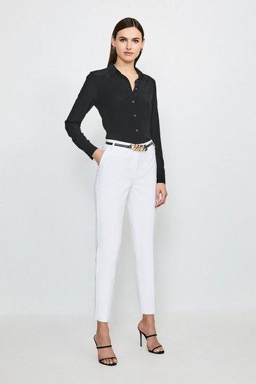 Ivory Cotton Sateen Capri Trousers