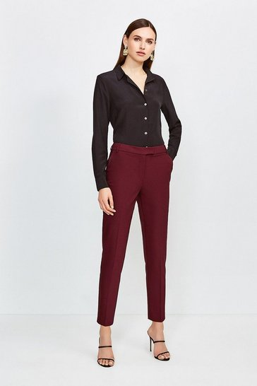 Merlot Cotton Sateen Capri Trousers