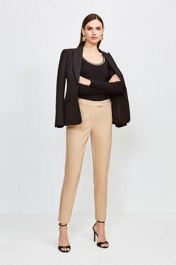 Stone Cotton Sateen Capri Trousers