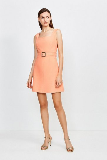 Apricot Square Neck Belted Tie Back Short Dress