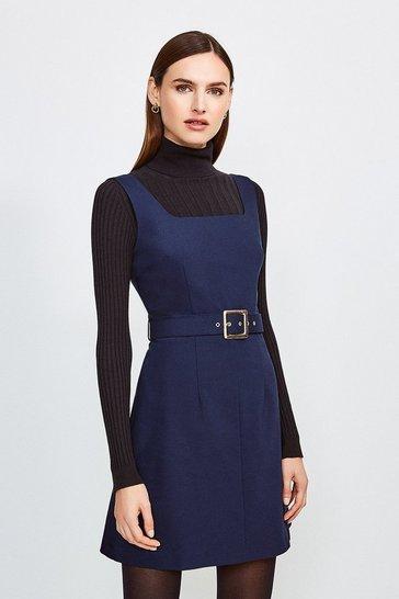 Navy Square Neck Belted Tie Back Short Dress