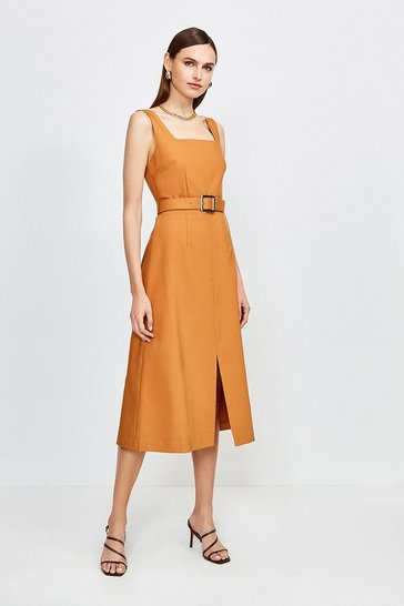 Cashew Square Neck Belted Tie Back Midi Dress