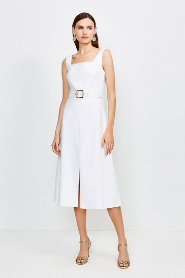 Ivory Square Neck Belted Tie Back Midi Dress