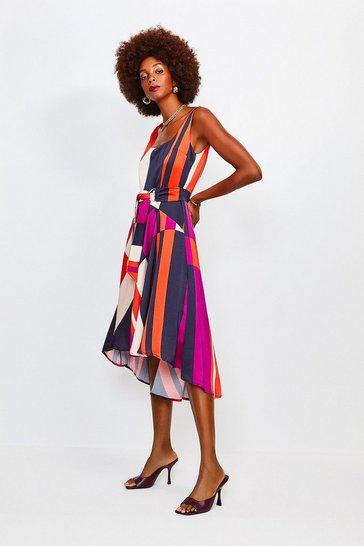 Stripe Striped Colour Block Scoop Neck Dress