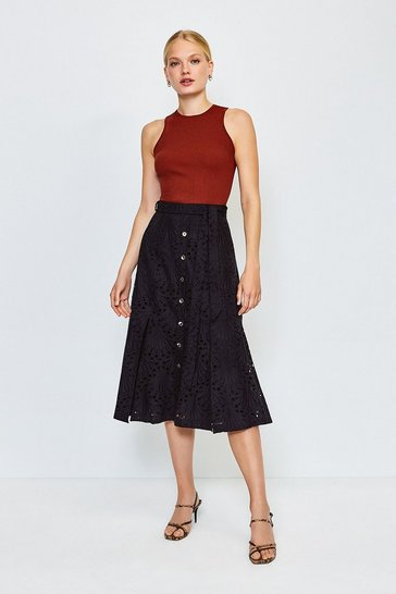 Black Broderie Button Up Skirt