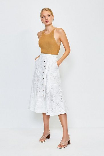 White Broderie Button Up Skirt