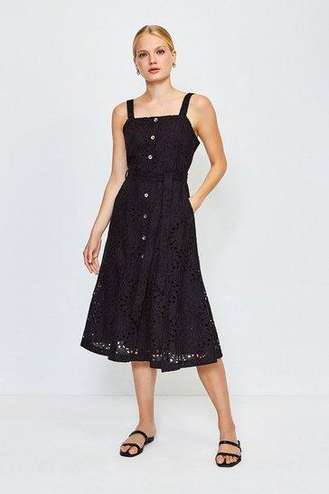 Black Broderie Tie Waist Dress