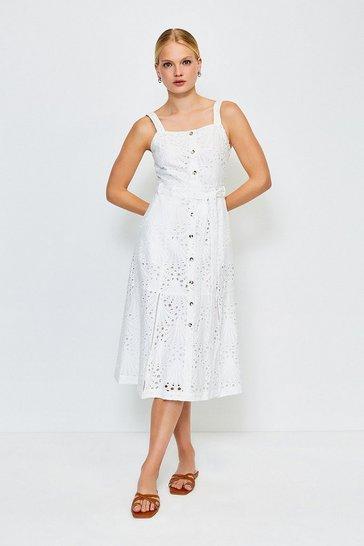 White Broderie Tie Waist Dress