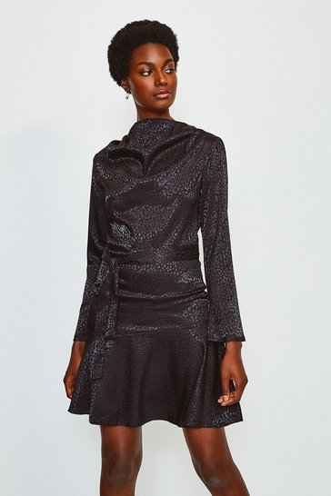 Black Jacquard Long Sleeved Cowl Neck Dress