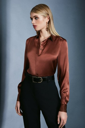 Rust Silk Satin Long Sleeve Shirt