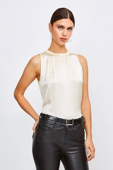 Ivory Silk Satin Sleeveless Shell Top