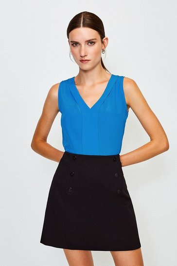 Blue Silk Satin Vest