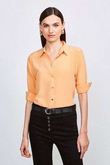 Apricot Silk Satin Slim Fit Shirt