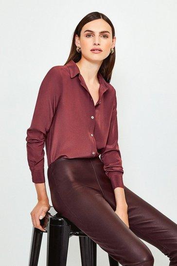Fig Silk Satin Slim Fit Shirt