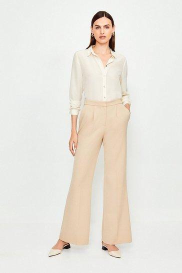 Ivory Silk Satin Slim Fit Shirt