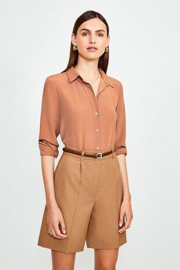 Rust Silk Satin Slim Fit Shirt