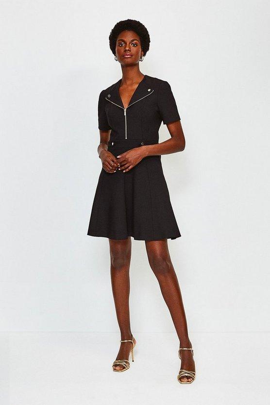 Black Zip Placket Short Sleeve A-Line Dress