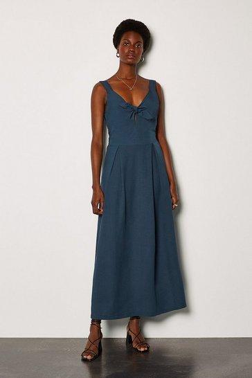 Navy Linen Tie Front Sleeveless Midi Dress