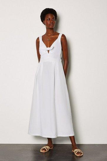 White Linen Tie Front Midi Dress
