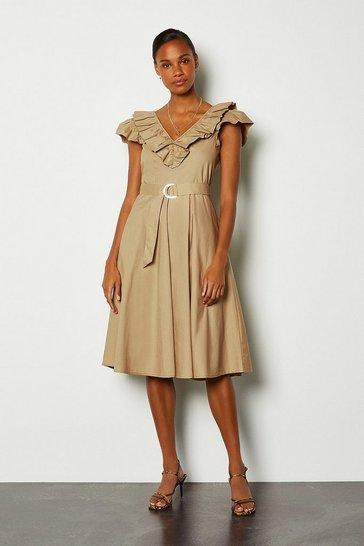 Natural Cotton Poplin Ruffle Belted Dress