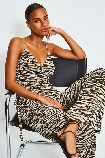 Zebra Animal Print Strappy Jumpsuit