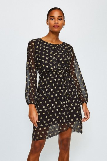 Black Ditsy Floral Long Sleeve Dress