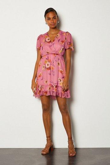 Pink Floral Wrap Flute Sleeve Dress