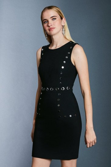 Black Eyelet Detail Shift Dress
